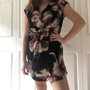 Floral Eclipse zippered polyester mini dress